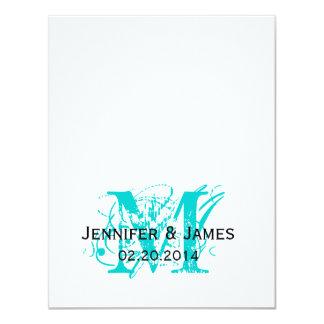 """Aqua Blue Monogram Names Wedding RSVP Cards 4.25"""" X 5.5"""" Invitation Card"""