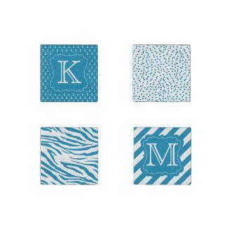 Aqua Blue Monogram Stone Magnets