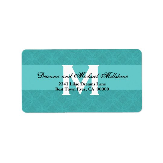 Aqua Blue Monogram Wedding Label B003