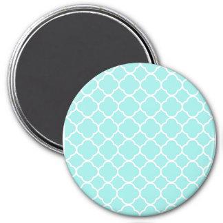 Aqua Blue Moroccan Pattern 3 Inch Round Magnet