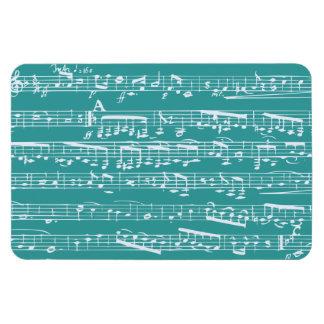 Aqua Blue music notes Rectangular Photo Magnet