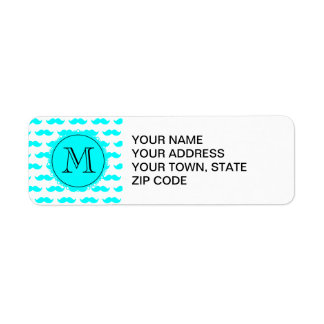 Aqua Blue Mustache Pattern, Aqua Black Monogram Return Address Label