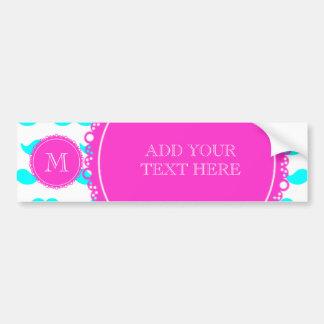 Aqua Blue Mustache Pattern, Hot Pink Monogram Car Bumper Sticker