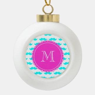 Aqua Blue Mustache Pattern, Hot Pink Monogram Ornaments