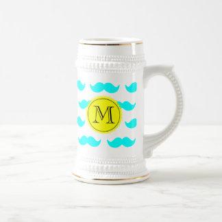 Aqua Blue Mustache Pattern, Yellow Black Monogram 18 Oz Beer Stein