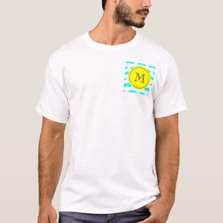 Aqua Blue Mustache Pattern, Yellow Black Monogram T-Shirt