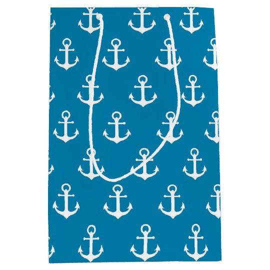 Aqua Blue Nautical Anchors Medium Gift Bag
