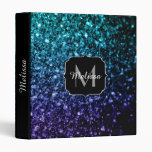 Aqua blue Ombre glitter sparkles Monogram 3 Ring Binder