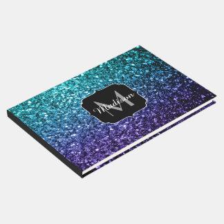 Aqua blue Ombre glitter sparkles Monogram Guest Book