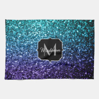 Aqua blue Ombre glitter sparkles Monogram Kitchen Towel
