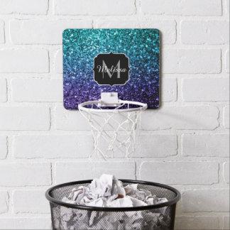 Aqua blue Ombre glitter sparkles Monogram Mini Basketball Hoop