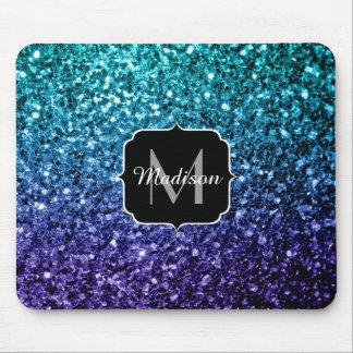 Aqua blue Ombre glitter sparkles Monogram Mouse Pad