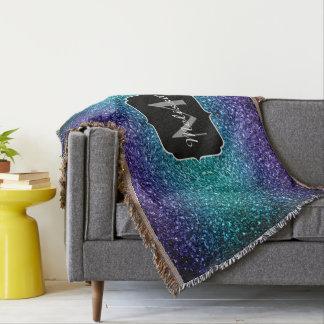 Aqua blue Ombre glitter sparkles Monogram Throw Blanket