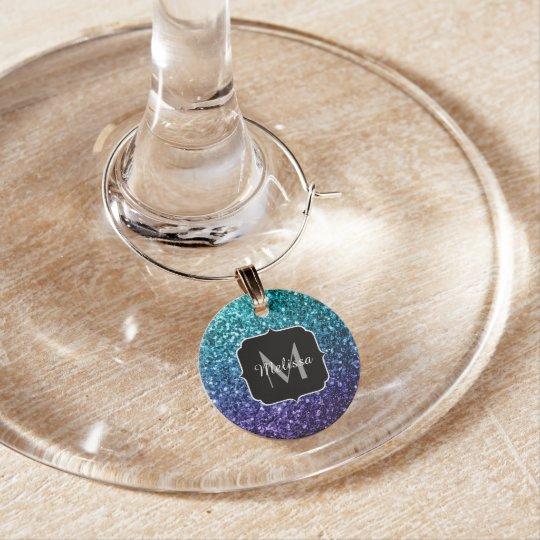 Aqua blue Ombre glitter sparkles Monogram Wine Glass Charms