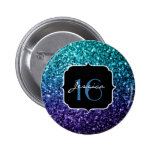 Aqua blue Ombre glitter sparkles Sweet 16 2 Inch Round Button