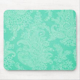 Aqua blue paisley tree flower cloth pattern mouse pad
