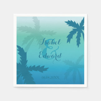 Aqua Blue Palm Trees With Names And Date Wedding Disposable Napkins
