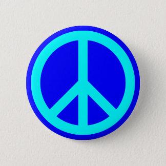 Aqua Blue Peace Symbol 2 Inch Round Button