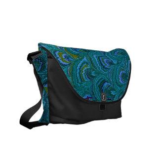 Aqua Blue Peacock Feather Vintage Design Messenger Bag