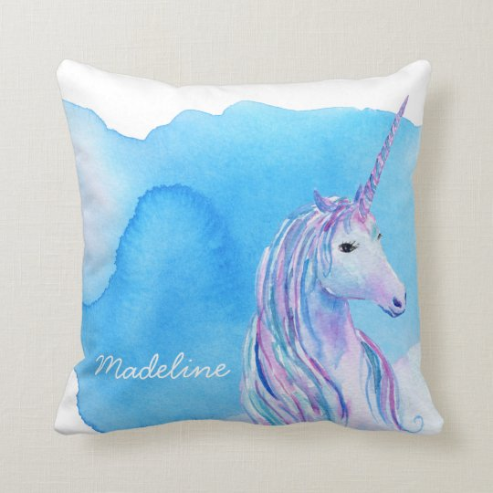 Aqua Blue Personalized Watercolor Unicorn Throw Pillow