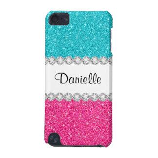 Aqua Blue Pink Glitter Print 5G iPod Touch Case