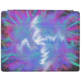 Aqua Blue Pink Spiral Star Abstract Art Design iPad Cover
