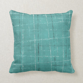 Aqua blue plaid pattern throw pillow