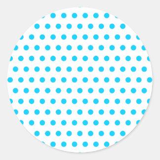 Aqua Blue Polka Dots Classic Round Sticker