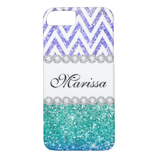 Aqua Blue Purple Glitter Ombre White Chevrons iPhone 8/7 Case