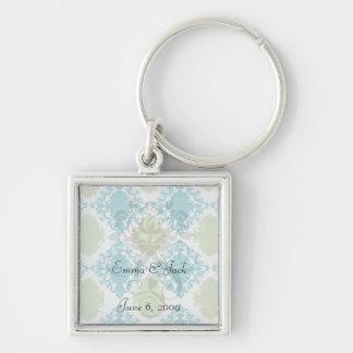 aqua blue sage green white diamond damask Silver-Colored square keychain