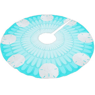 Aqua Blue Sand Dollars Tree Skirt