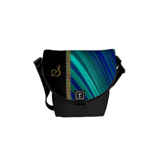 aqua blue satin gold chain commuter bag