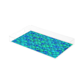 Aqua Blue Scales Acrylic Tray