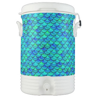 Aqua Blue Scales Drinks Cooler
