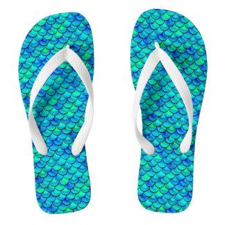 Aqua Blue Scales Flip Flops