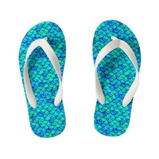 Aqua Blue Scales Kid's Flip Flops