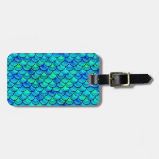 Aqua Blue Scales Luggage Tag