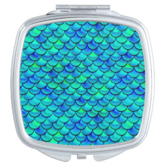 Aqua Blue Scales Mirrors For Makeup