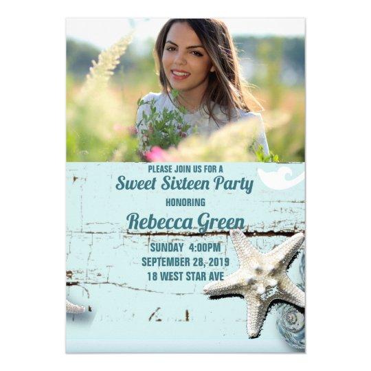 aqua blue seashell beach Sweet sixteen party Card