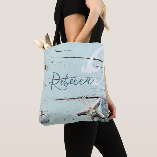 aqua blue seashell starfish beach bridesmaid tote bag