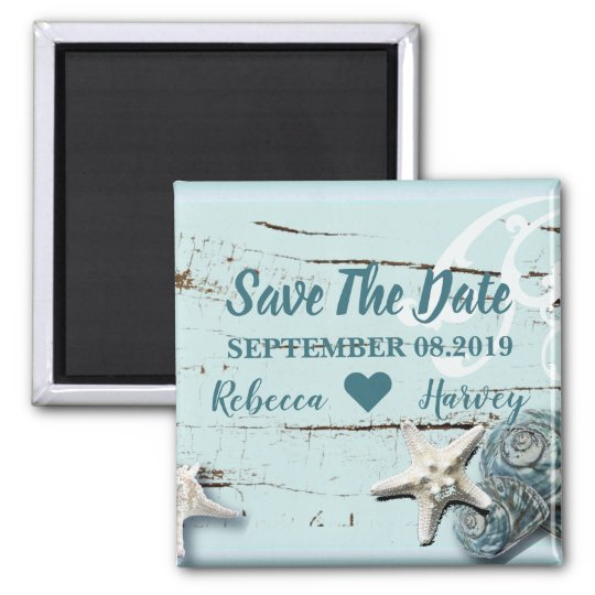 aqua blue seashell starfish wedding save the date magnet