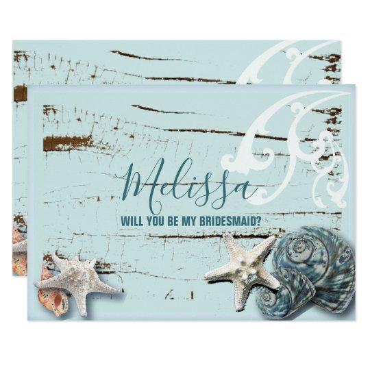 aqua blue seashell will you be my bridesmaid card