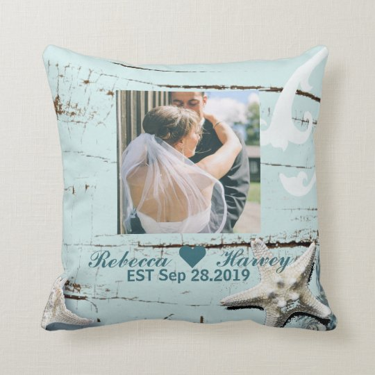 aqua blue seashells beach wedding photo throw pillow
