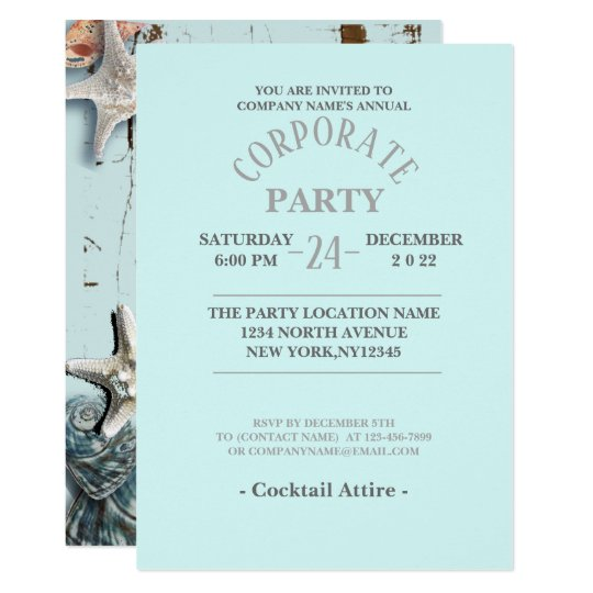 aqua blue seashells tropical beach Corporate Party Card