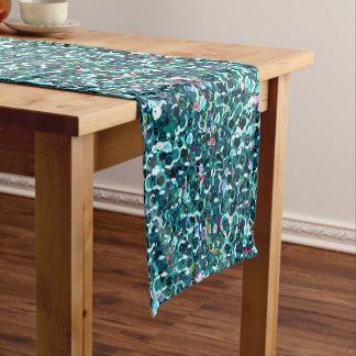Aqua Blue Sequin Sparkles All Over Print Short Table Runner