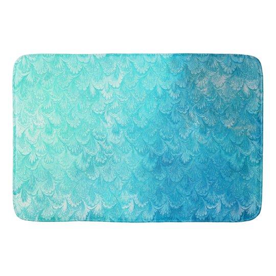 Aqua Blue Shiny Sea Shell Mermaid Fish Scales Bath Mat