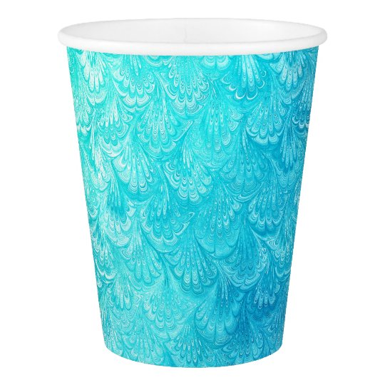 Aqua Blue Shiny Sea Shell Mermaid Fish Scales Paper Cup