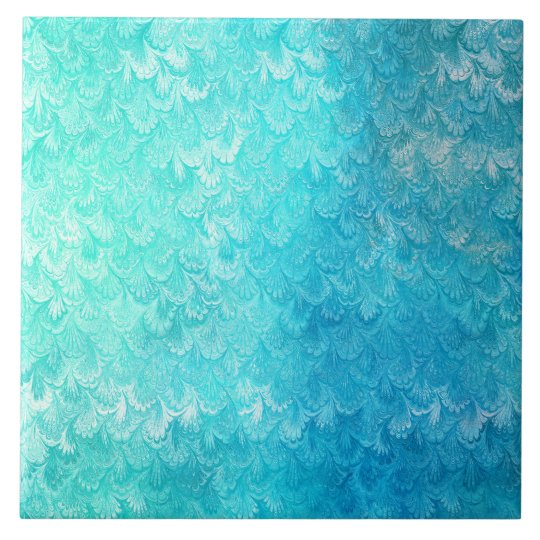 Aqua Blue Shiny Sea Shell Mermaid Fish Scales Tile