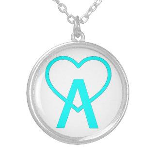 Aqua Blue Silver A~Heart Necklace