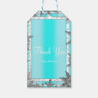 Aqua Blue & Silver Winter Snowflakes Elegant Party Gift Tags
